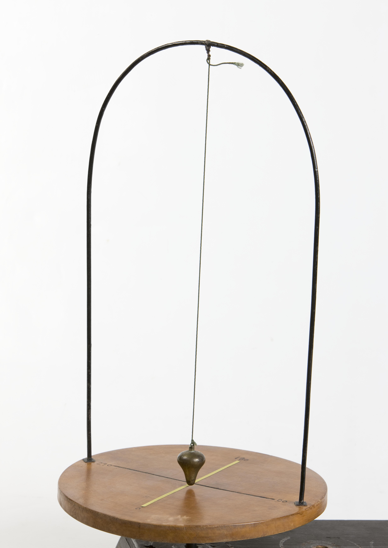 19- Apparecchio per la dimostrazione dell'invariabilità del piano di oscillazione di un pendolo in rotazione