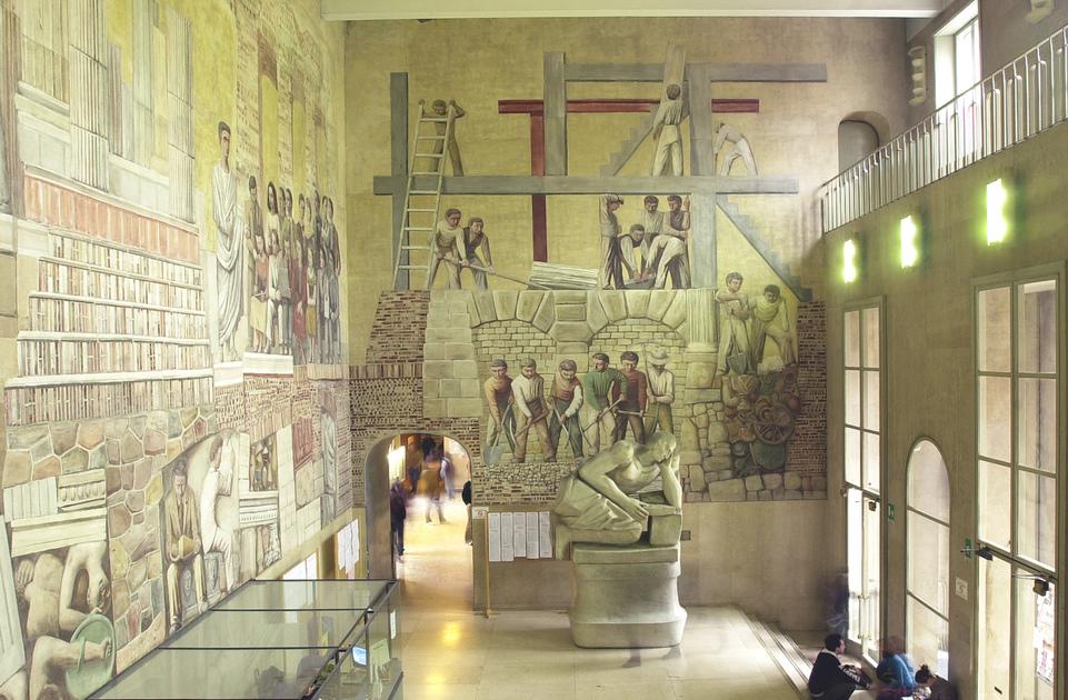 Dipinto - La continuità della cultura romana nella moderna attraverso l'esaltazione di simboli di vita e poesia, di virtù eroica, di studio e lavoro