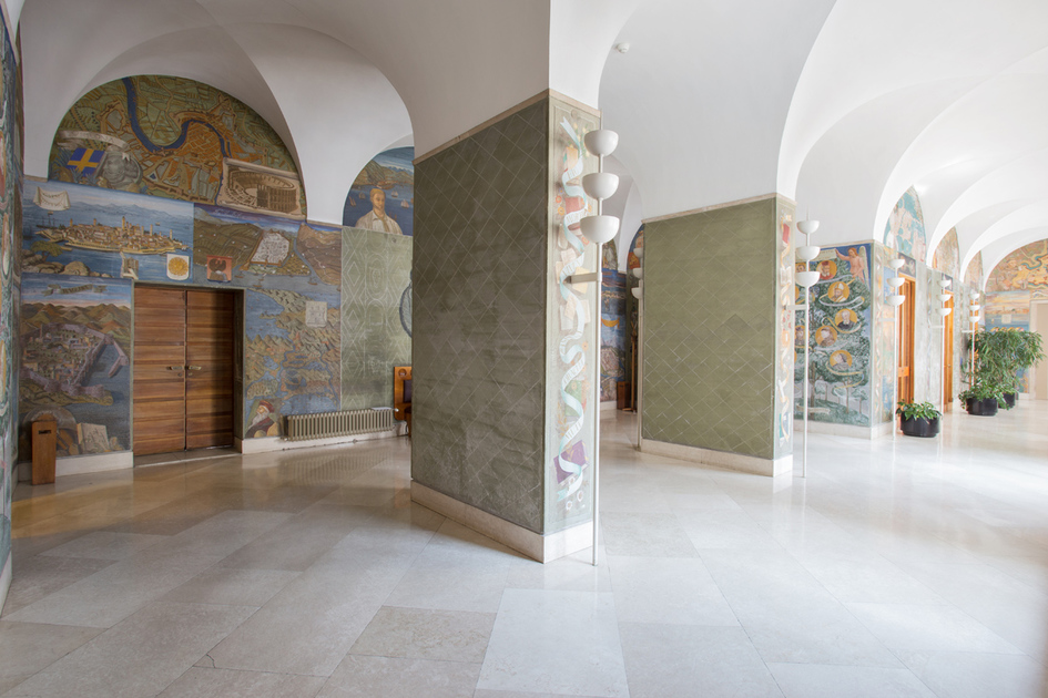 Dipinto - Le città legate all'influenza dell'Università di Padova - Simboli delle autorità accademiche - Simboli delle scienze - Decori floreali